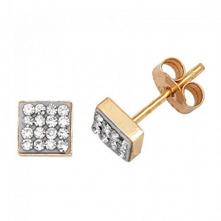 Just Gold Earrings -9Ct Gold Cz Square Studs, ES314